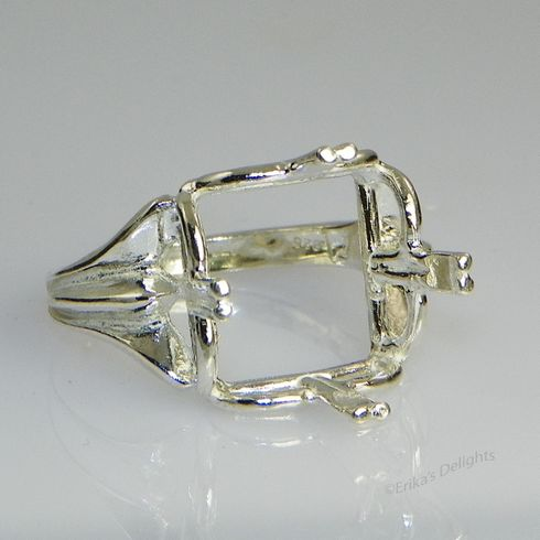 14mm Square Regalle Pre-notched Sterling Silver Ring Setting
