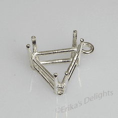 14mm Trillion Pre-notched Dangle Sterling Silver Setting