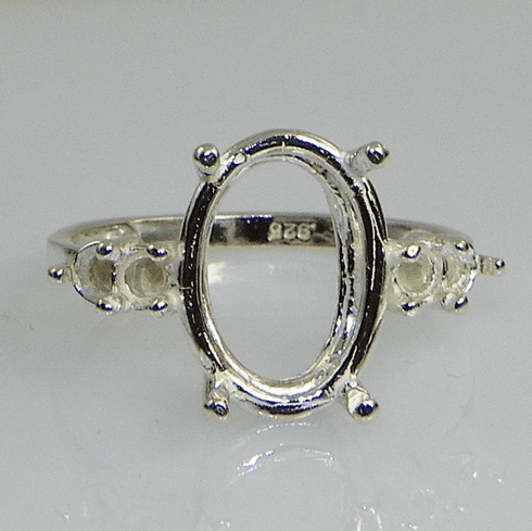 14x10 Oval Double Side Accent Sterling Silver Ring Setting