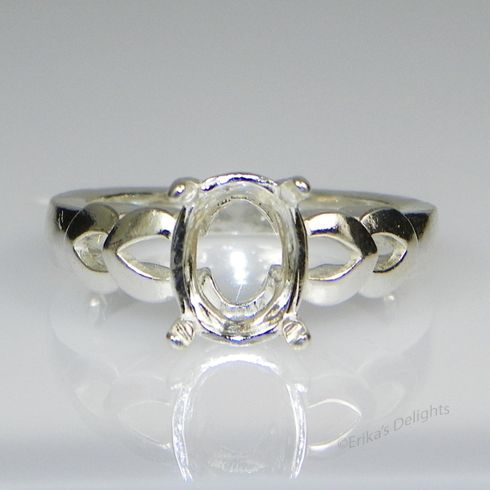 14x10 Oval Double Vee Shank Sterling Silver Ring Setting