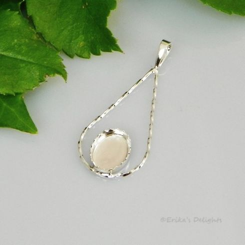 14x10 Oval Twisted Teardrop Fancy Cabochon (Cab) Sterling Silver Pendant Setting