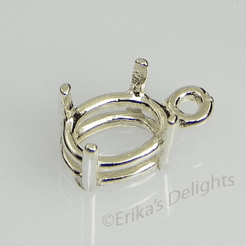 14x12 Oval Pre-notched Dangle Drop Sterling Silver Setting