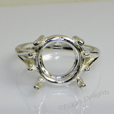 15mm Round Wire Mount Sterling Silver Ring Setting