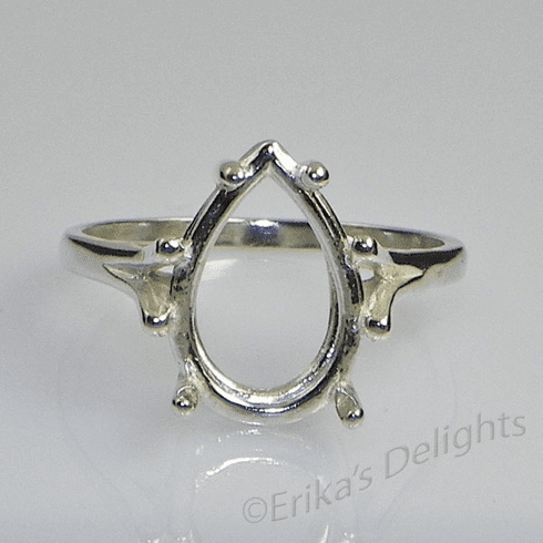 15x10 Pear Solitaire Sterling Silver Ring Setting