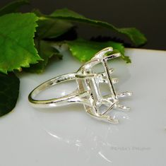 16x12 Emerald 8 Prong Sterling Silver Pre-Notched Ring Setting