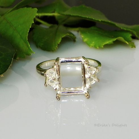 16x12 Emerald with 4 (3mm) Accents Sterling Silver Ring Setting