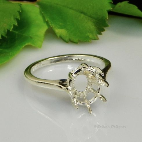 16x12 Oval Deep Basket Sterling Silver Ring Setting