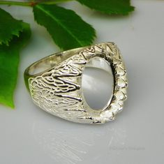 16x12 Oval Mens Donello Cabochon (Cab) Sterling Silver Ring Setting