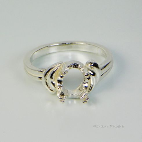 16x12 Oval Semi Offset Shank Sterling Silver Pre-Notched Ring Setting