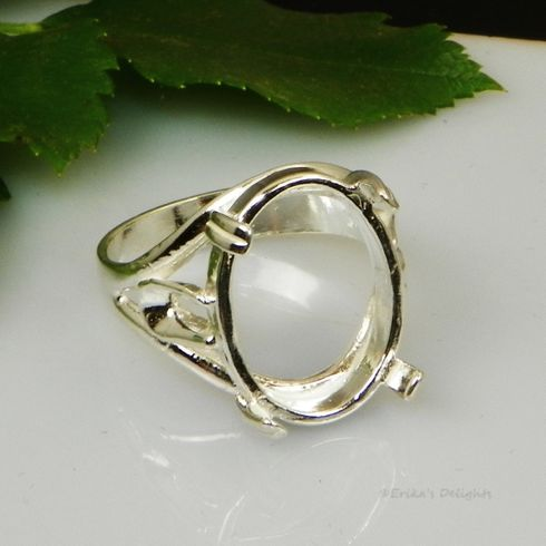 16x12 Oval Side Deco Cabochon (Cab) Sterling Silver Ring Setting