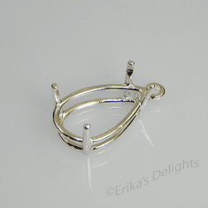 16x12 Pear Pre-notched Dangle Drop Sterling Silver Setting