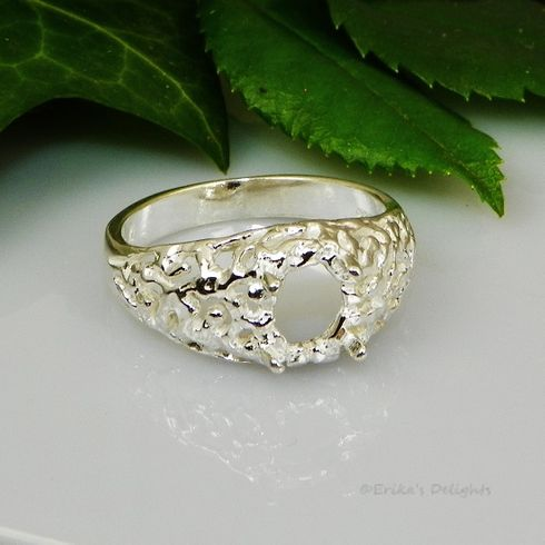 18x13 Oval Freeform Cabochon (Cab) Sterling Silver Ring Setting