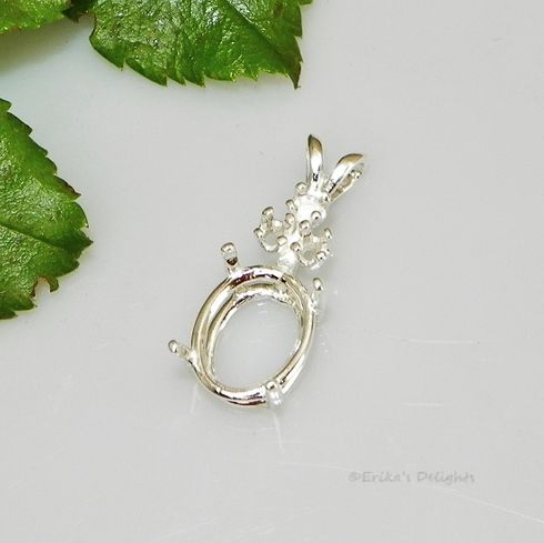 18x13 Oval with 3 Accents Sterling Silver Pre-Notched Pendant Setting