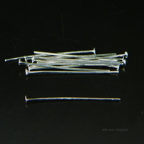 2.2cm Silver Plated Headpins (21 gauge)
