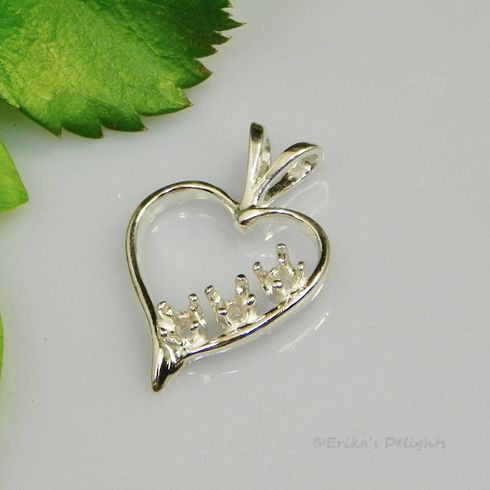 2.5mm Round 3 Stone Heart Sterling Silver pendant Setting