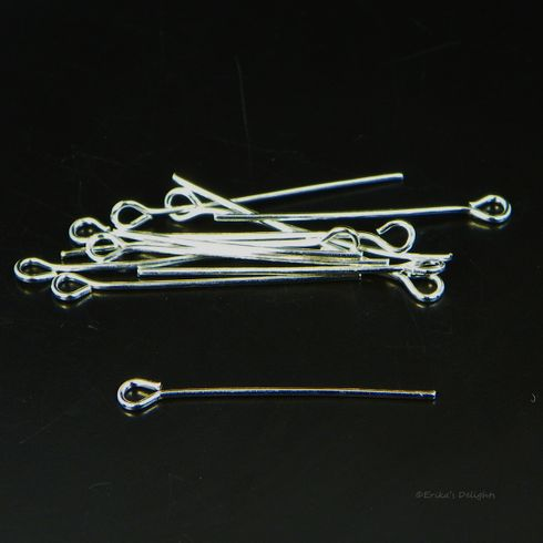 2.8cm Silver Plated Eye Pins (21 gauge)