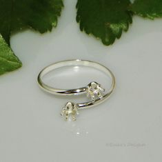 2 Stone 4mm Round Adjustable Sterling Silver Snap In RING Setting (6 Prong)