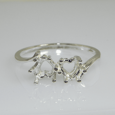 2 Stone Heart Prenotched Sterling Silver Ring Setting