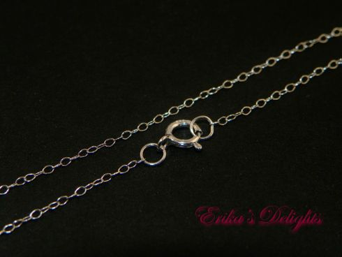 """20"""" Rhodium Sterling Silver Anti Tarnish Cable Chain with Spring Clasp (Width 1mm)"""