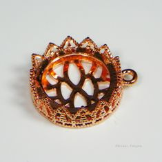 20mm Round Rose Gold Plated Filigree Design Cabochon (Cab) Drop Setting
