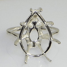 20x15 Pear Deep Basket Sterling Silver Ring Setting