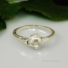 2mm Round Birthstone Rose Sterling Silver Ring Setting