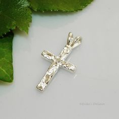 2mm Round Nugget Cross Pre-Notched Sterling Silver Pendant Setting