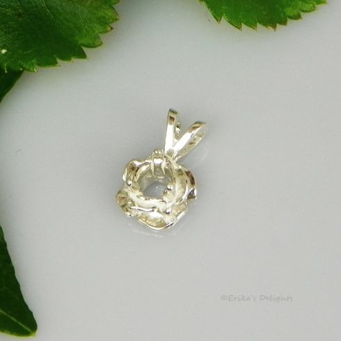 2mm Round Rose Pre-Notched Sterling Silver Pendant Setting