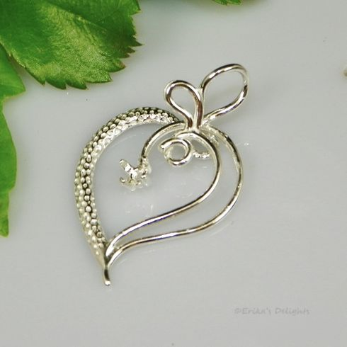 3.5mm Round Large Fancy heart Sterling Silver Pendant Setting