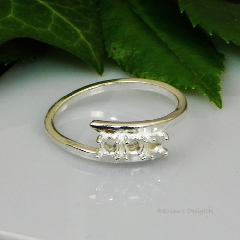 3 Stone Mothers Ring Sterilng Silver Pre-Notched Ring Setting