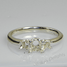 3 Stone Round (3mm,4mm,3mm) Sterling Silver Ring Setting
