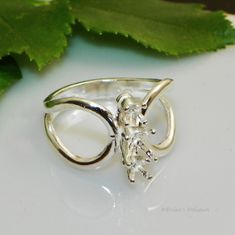3 Stone Round Butterfly Pre-Notched Sterling Silver Ring Setting