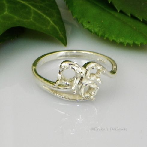 3 Stone Round Triple Swirl Dinner Pre-Notched Sterling Silver Ring Setting
