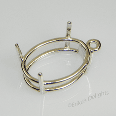 30x22 Oval Pre-notched Dangle Drop Sterling Silver Setting