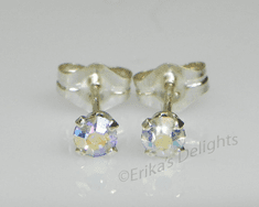 3mm Crystal AB Sterling Silver Earrings using Swarovski Elements