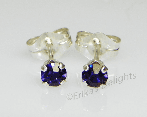 3mm Crystal Iris Sterling Silver Earrings using Swarovski Elements