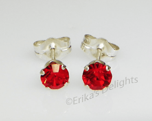 3mm Crystal Light Siam Red Sterling Silver Earrings using Swarovski Elements