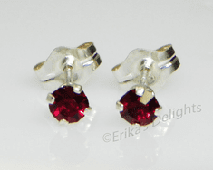 3mm Crystal Siam Red Sterling Silver Earrings using Swarovski Elements