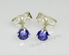 3mm Crystal Tanzanite Sterling Silver Earrings using Swarovski Elements