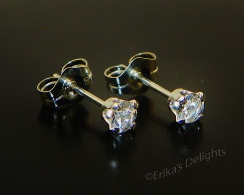 3mm Round Genuine Clear / White Topaz Sterling Earrings