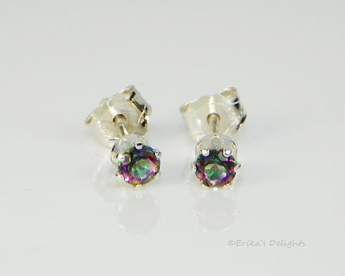 3mm Genuine Fire Mystic Topaz Sterling Silver Earrings
