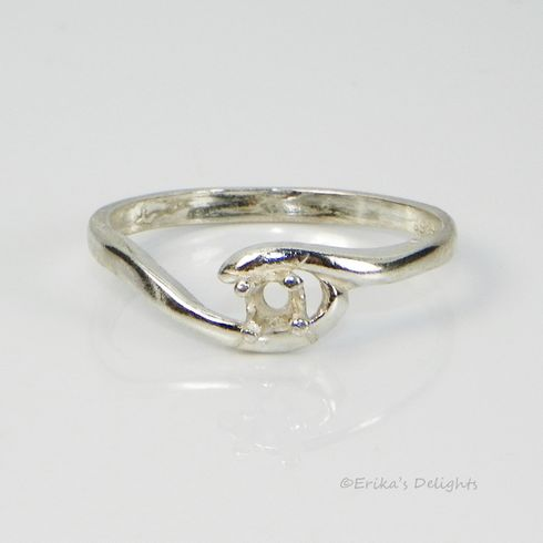 3mm Round Birthstone Bypass Sterling Silver Ring Setting