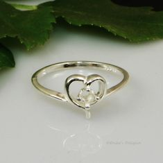 3mm Round Birthstone Heart Sterling Silver Ring Setting