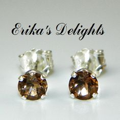 3mm Round Genuine Golden Smokey Quartz Sterling Silver Earrings