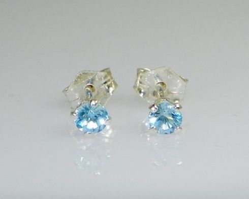 3mm Round Genuine Sky Blue Topaz Sterling Silver Earrings