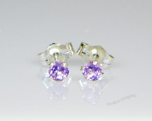 3mm Round Natural Amethyst Sterling Silver Earrings