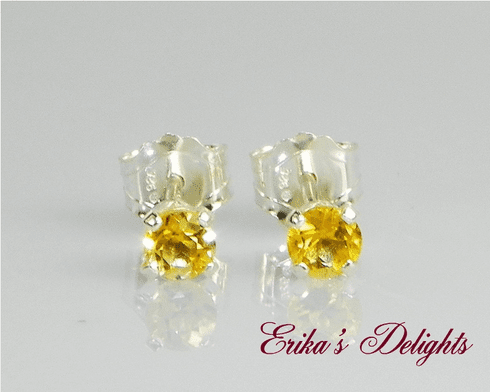 3mm Round Natural Golden Citrine Sterling Silver Earrings