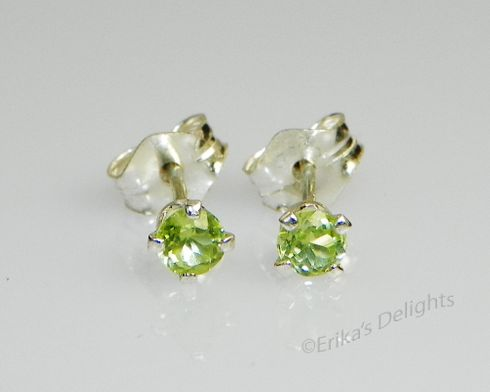 3mm Round Natural Peridot Sterling Silver Earrings