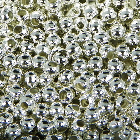 3mm Round Silver Plated Metal Smooth Ball Beads