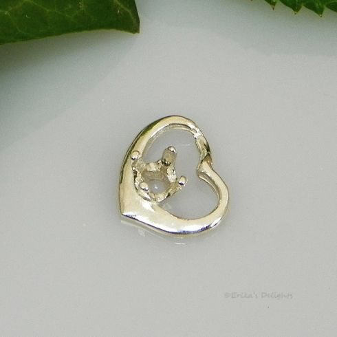 3mm Round Weeping Heart Sterling Silver Pendant Setting